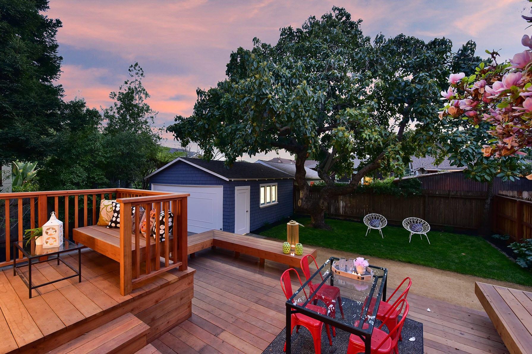 Alameda Craftsman Remodel Backyard Deck Twilight
