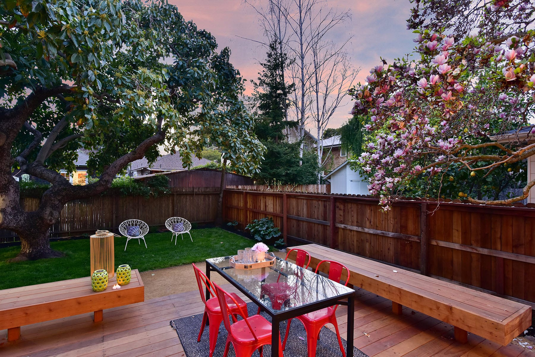 Alameda Craftsman Remodel Twilight Backyard Deck