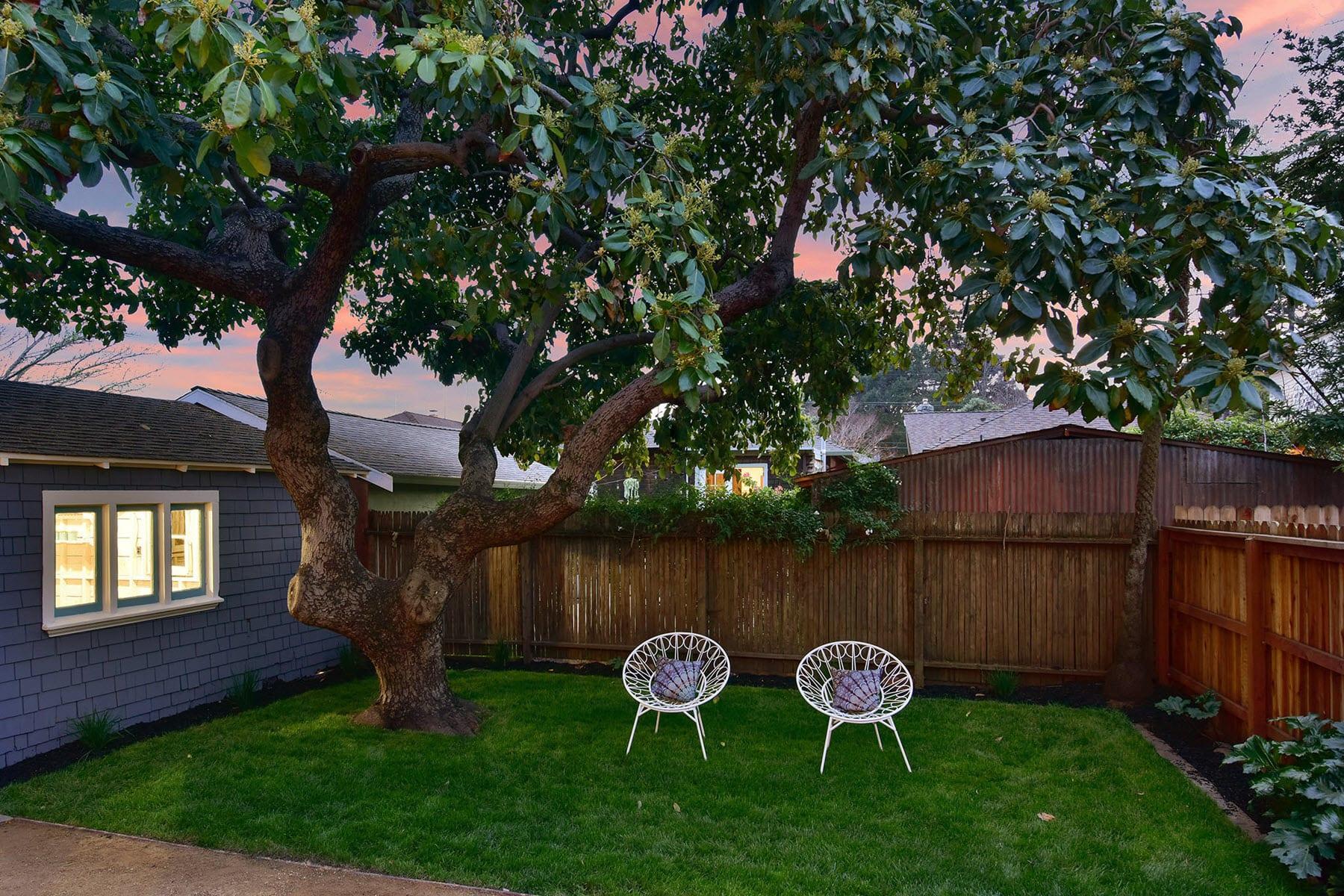 Alameda Craftsman Remodel Backyard Twilight Tree