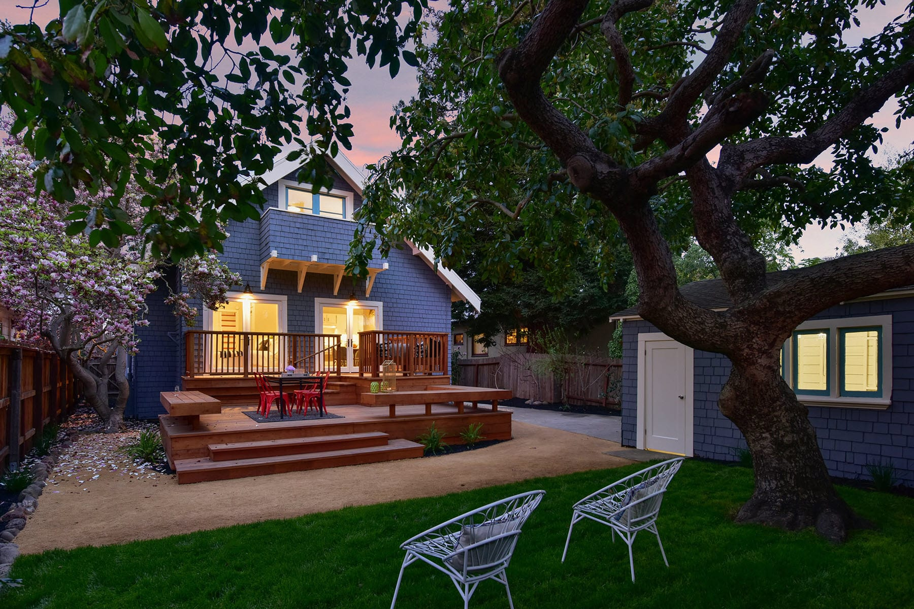 Alameda Craftsman Remodel Backyard Twilight