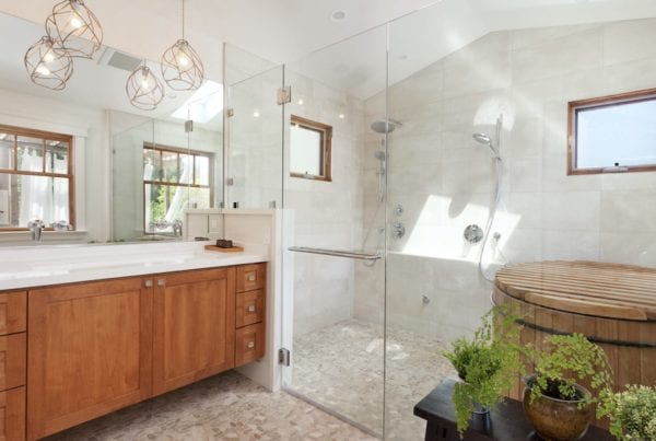 Houzz modern mediterannean shower curbless river rock